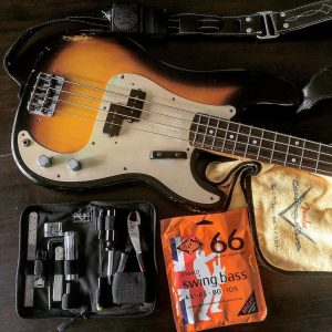 Precision bass setup Rotosound Swing Bass strings. Photo credit Bobby Poulton